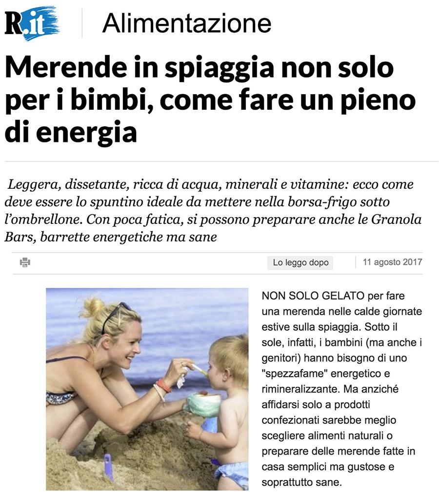 La Repubblica - Merende in spiaggia non solo per i bimbi, come fare un pieno di energia