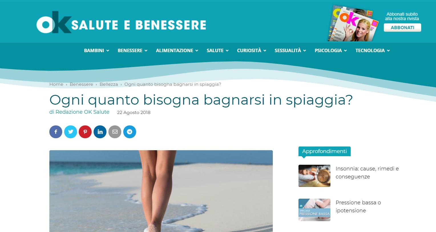 Ok Salute E Benessere Ogni Quanto Bisogna Bagnarsi In Spiaggia Dr Serena Missori